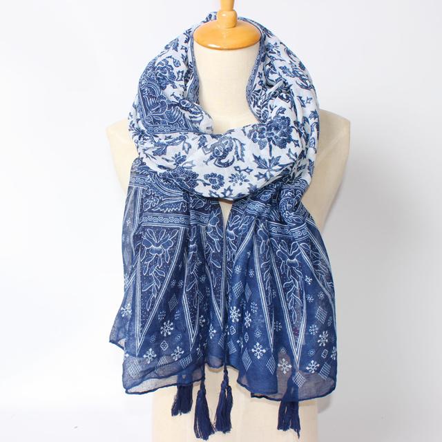 Новый за бренд национальный стиль bufandas синий и белый фарфор шарф женщин горячей мода кисточкой пашмины для женщин аксессуары