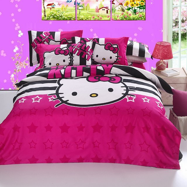 Pink hello kitty full queen king size bedding set for girls bedroom textiles comforter cover bed - Decoration hello kitty pour chambre bebe ...