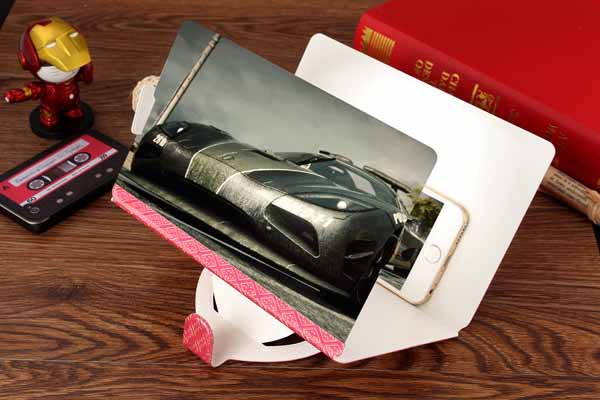 Universal Cell phone video enlarge screen magnifier, portable pu leather case stand holder video ampllifier,(China (Mainland))