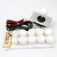 New White Arcade DIY Accessorie Zero Delay USB ENCODER + China PUSH BUTTONS + China JOYSTICK for MAME & Fight Stick Controls