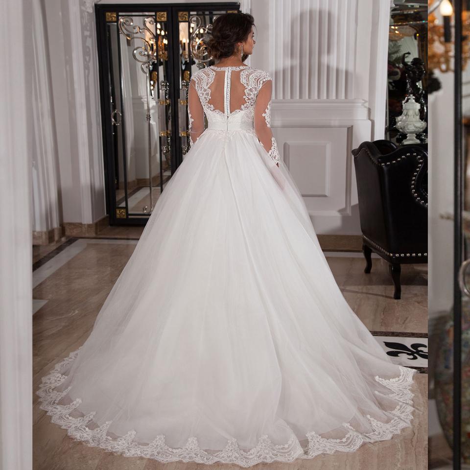 Cheap elegant long sleeve white lace princess wedding for Cheap long sleeve lace wedding dresses