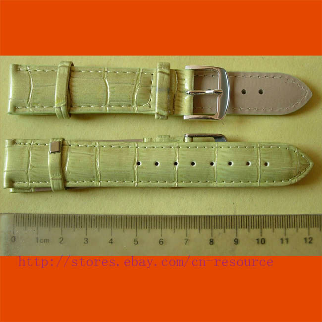 1 x 20 mm GENUINE COW LEATHER watch band yellow 06