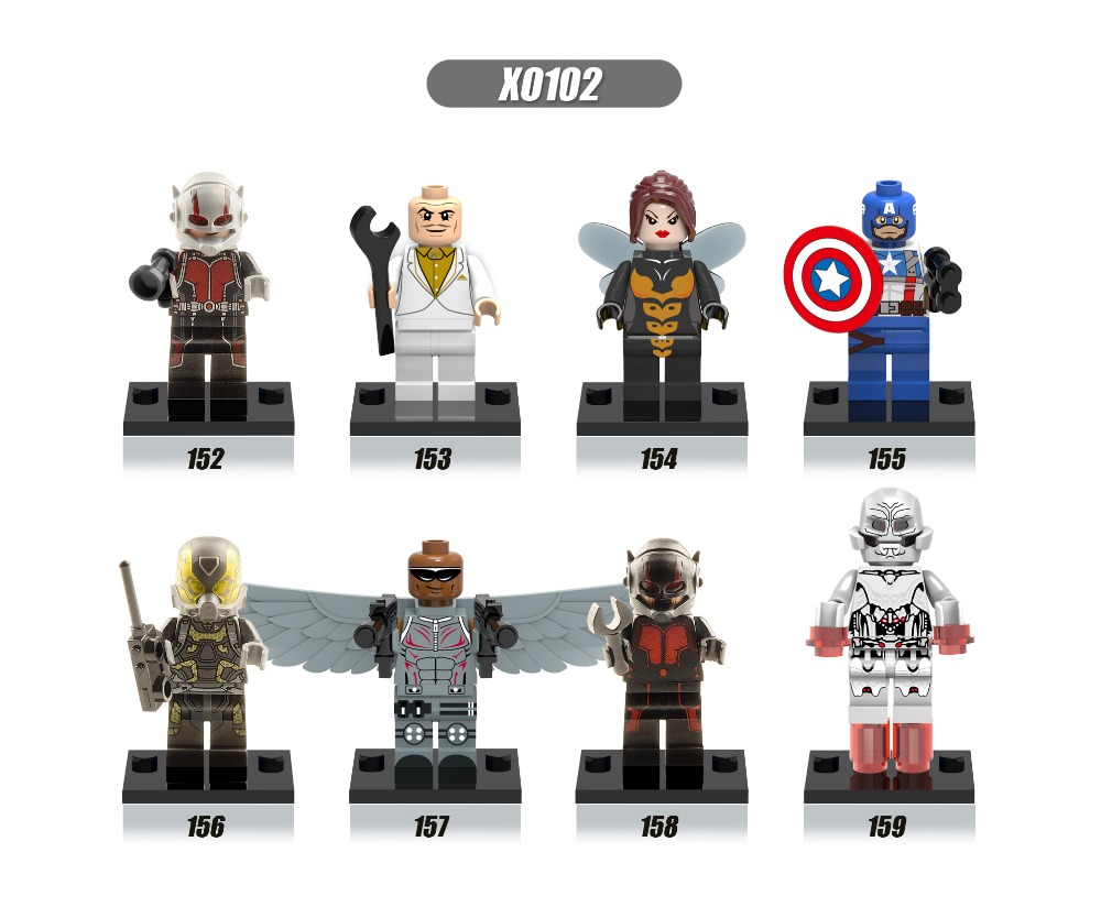 XH Building Blocks Super Heroes Avengers MiniFigures ANT-MAN/Egghead/Yellow Jacket/Ultron/Female Wasp/Falcons Mini Figures Toys<br><br>Aliexpress