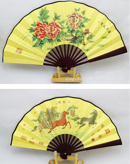 Men gentleman Pretty Flowered Chinese Craft Handheld Folding Hand Fan Style Silk Bamboo(China (Mainland))