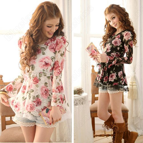 Summer Long Sleeve Tops T Shirts Floral Ladies Lace Short Mini Dresses ...