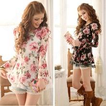 Summer Long Sleeve Tops T Shirts Floral Ladies Lace Short Mini Dresses Women Cute Waist Top Spring 1J8J(China (Mainland))