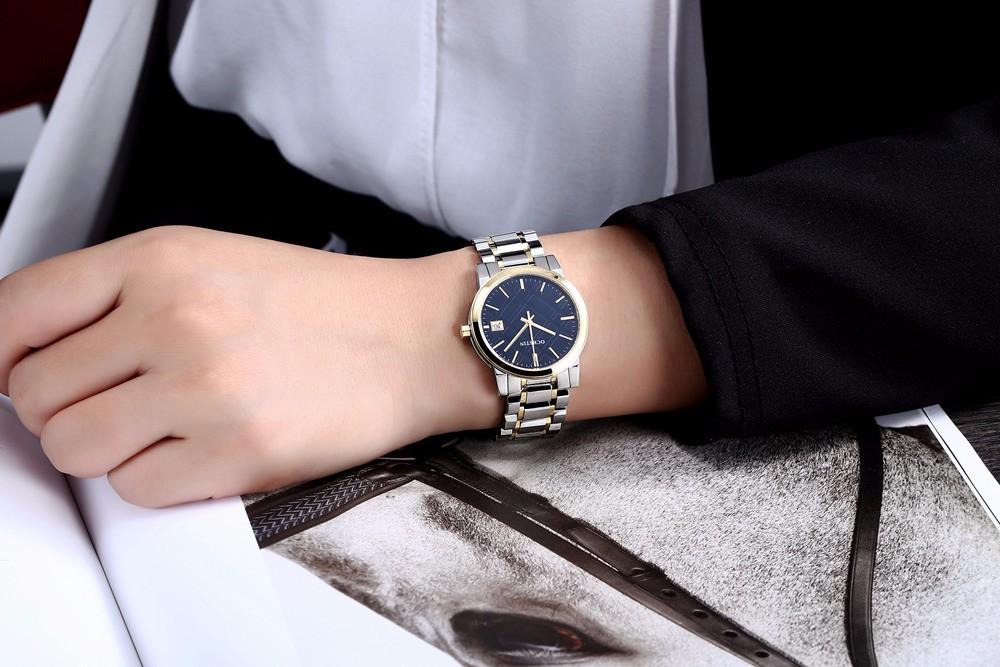Женщины Сапфировое Стекло Часы Моды Роскошь Кварцевые Часы Lady Повседневная Нержавеющей Стали Платье Смотреть mujer reloje 2016 montre femme