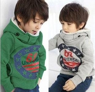 2014 Promotion Sale Regular Free Shipping!2013 Child Outerwear 68 Star Paragraph with A Hood Plus Velvet Sweatshirt,kids Hoodies