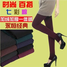 Extra plush padded leggings, fall/winter woman, colorful cotton pants, thin waist, keep warm plus size, little feet(China (Mainland))