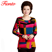 FIONTO Women O-neck Tops Fashion Cropped New Middle Old Aged Women's Sleeved Slim Mom Shirt Printing Tops A0131(China (Mainland))