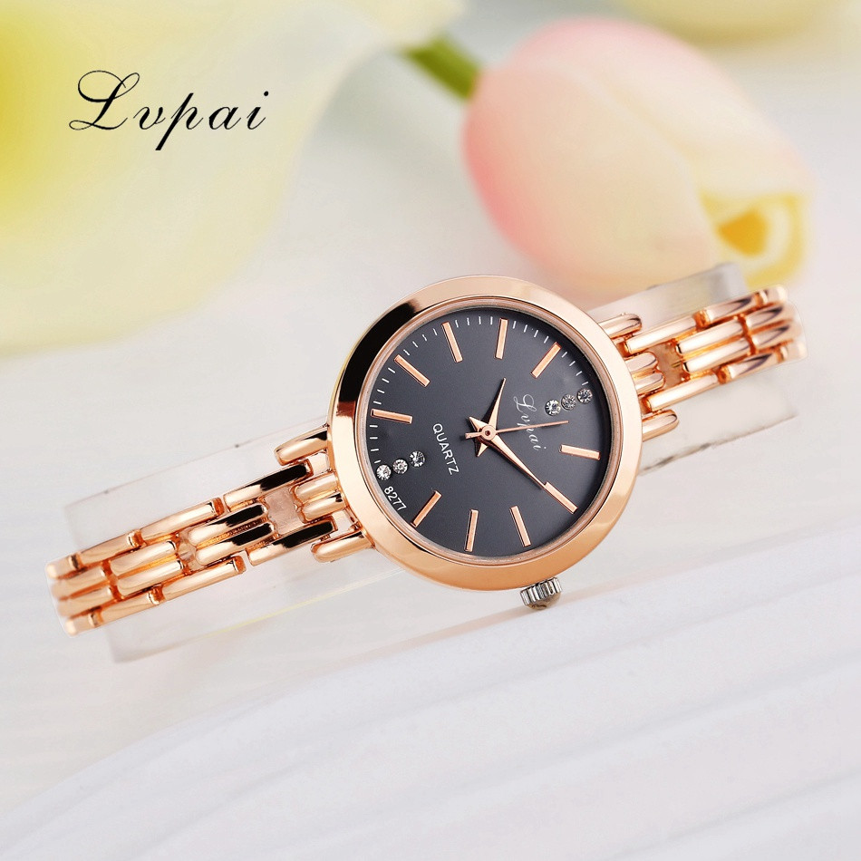 Lvpai Brand Gold Plated Bracelet Watches Women Luxury Dress Fashion Sport Wristwatch Ladies Dress Business Quartz Watch LP023