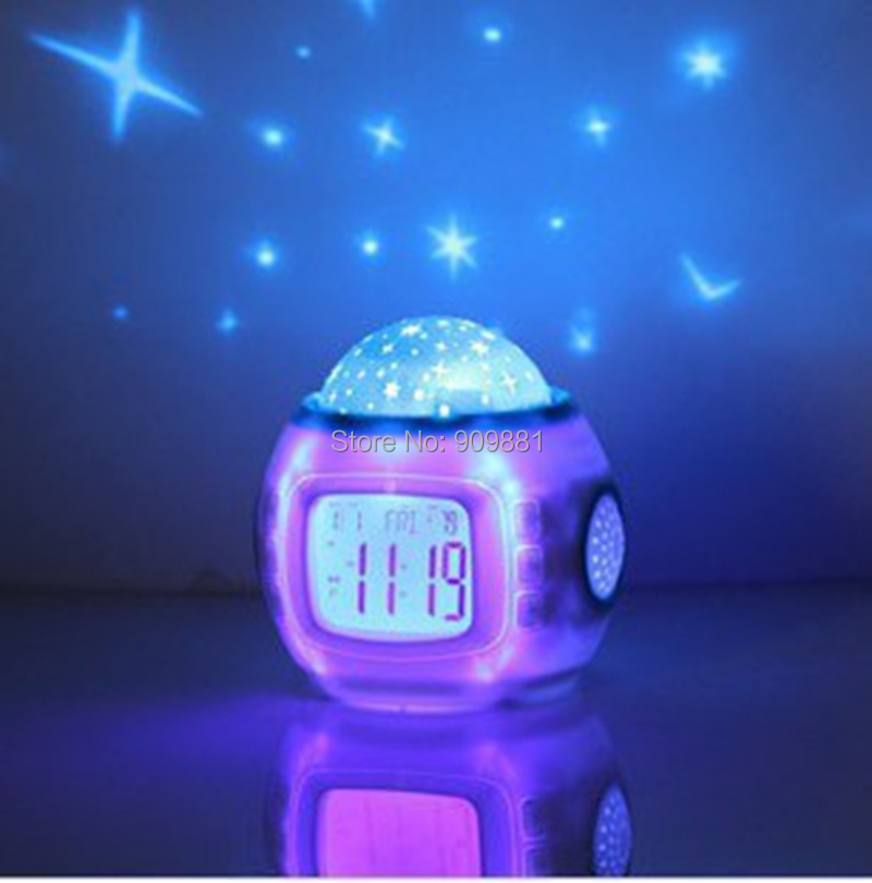 Brand New Music Starry Sky Projection Children Room Sky Star Night Light Projector Lamp Bedroom Alarm Clock W/music Freeshipping(China (Mainland))