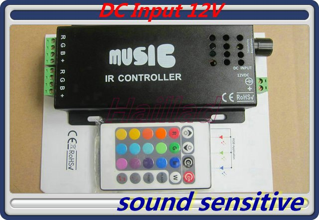 2012 hot sale free shipping 12V 10A Black Music Sound LED Controller for RGB strip light(China (Mainland))