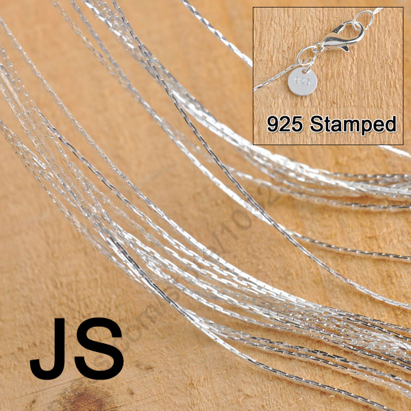 Wholesale 50Pcs 18 Pure 925 Sterling Silver Jewelry Findings JS Link Necklace Chains Set Lobster Clasps
