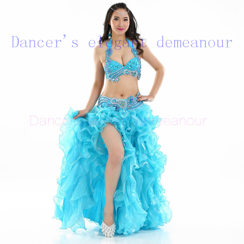 New belly dance costumes senior sexy handmake bra+belt+skirt 3pcs belly dance set for women belly dance competition suits(China (Mainland))