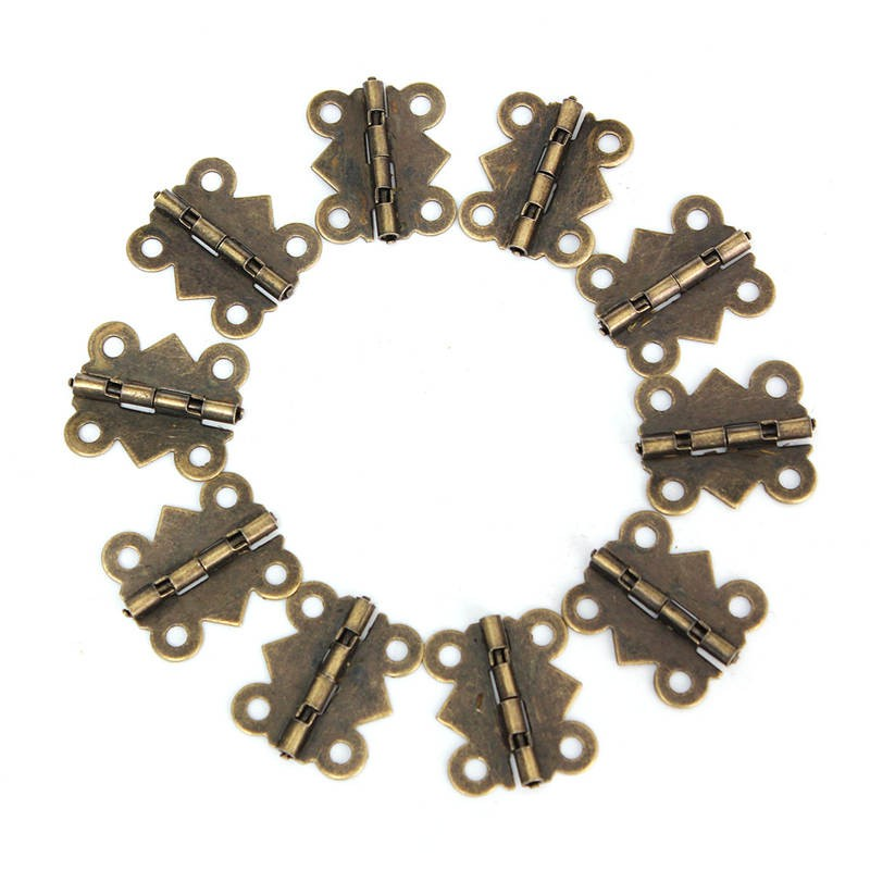 10 Set Antique Metal Cabinet Copper Hinges Small Hinges For Jewelry Boxes Wooden Box Door Brass Screws Hinge Mini Bisagras ZK17(China (Mainland))
