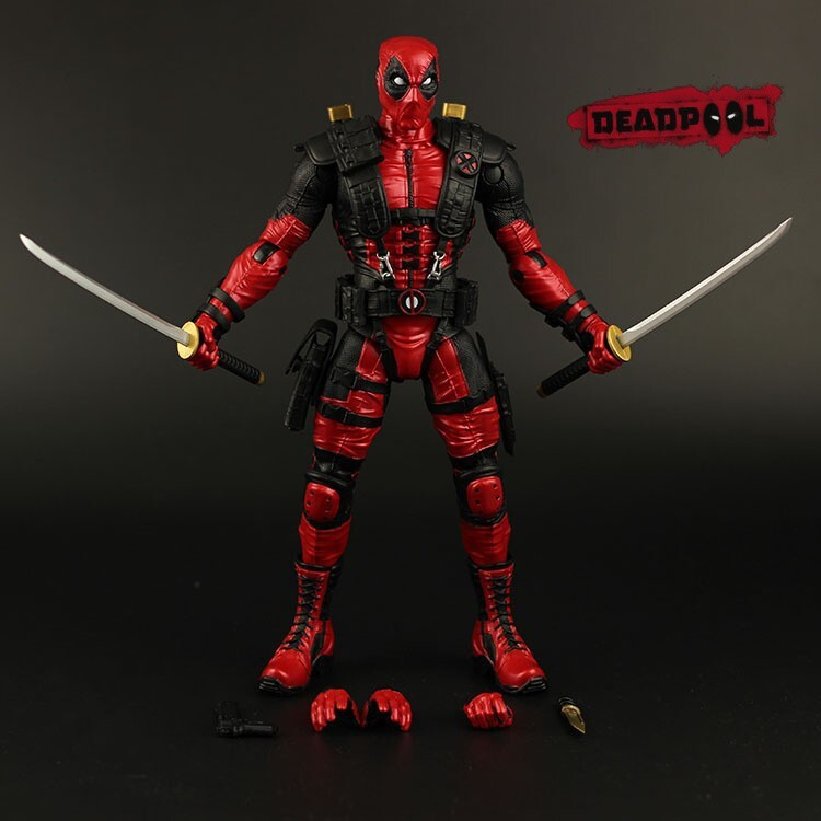 Фотография Free Shipping Marvel Fire Toy Deadpool Cartoon Version Movable 25cm PVC Action Figure Collection Model Toy
