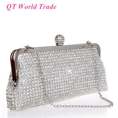 New Luxury Womens Handbag. Shiny Full Diamond Bridal Clutch Purse. Shoulder Messenger Chain Evening Bag Black Gold Silver<br><br>Aliexpress