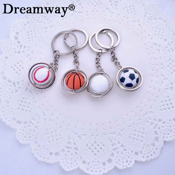Sport style ball keychain rotate golf basketball football baseball key chain pendant keyring gift for boys factory Dreamway(China (Mainland))