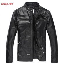 Genuine Leather Jacket 2015 Spring Winter Men's Stand Collar Slim Sheepskin/Goatskin Real Leather Jacket and Coat M-3XL(China (Mainland))