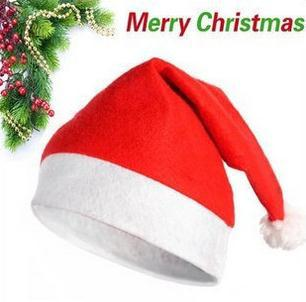 2014 Christmas Cap non-woven Soft Plush Santa Claus Christmas Hat Universal for Adult and Children Christmas decoration(China (Mainland))