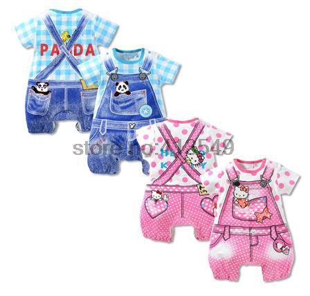Лето новорожденный детские комбинезоны мальчики одежда hello kitty cat panda короткая рукавами детские комбинезоны девочки один штук комбинезон
