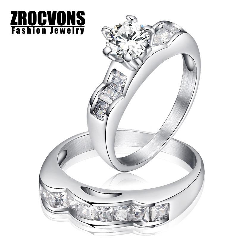 18K White Gold Plated Wedding Ring Austrian Crystals Full Sizes Stainless Steel Wedding Rings Set Wholesale(China (Mainland))