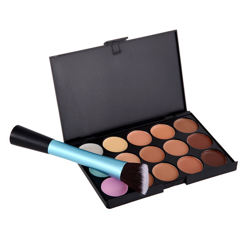 New 15 Colours Face Contour Cream Concealer Camouflage Palette &Blue Brush Makeup Kit AO#P(China (Mainland))