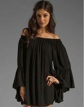 Women Bohemian Chiffon flare sleeve Off the Shoulder chemise medieval white peasant blouse boho shirt