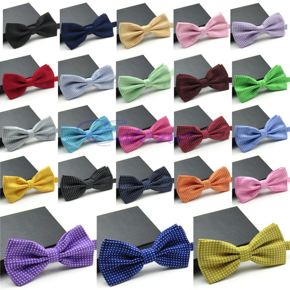 New Fashion Polyester Men s Adjustable Polka Dot Bow Tie For Wedding Prom Party