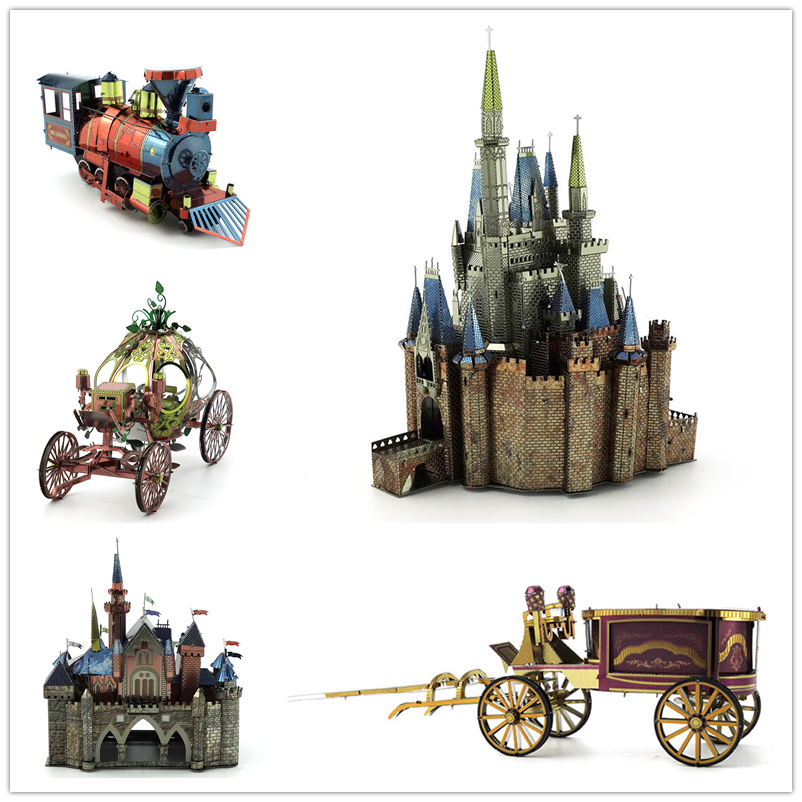 The pumpkin carriage Cinderella Castle Color puzzle Electroplating coloring Not fade 3D Metal assembly model Haunted House(China (Mainland))