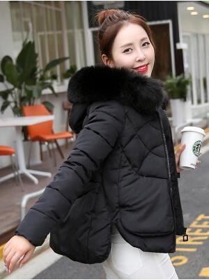 Скидки на Последняя Зимняя Мода Женщины Вниз куртка С Капюшоном Утолщение Супер теплый Полупальто Чистый цвет Свободные Большие ярдов Нерегулярные Пальто NZ75