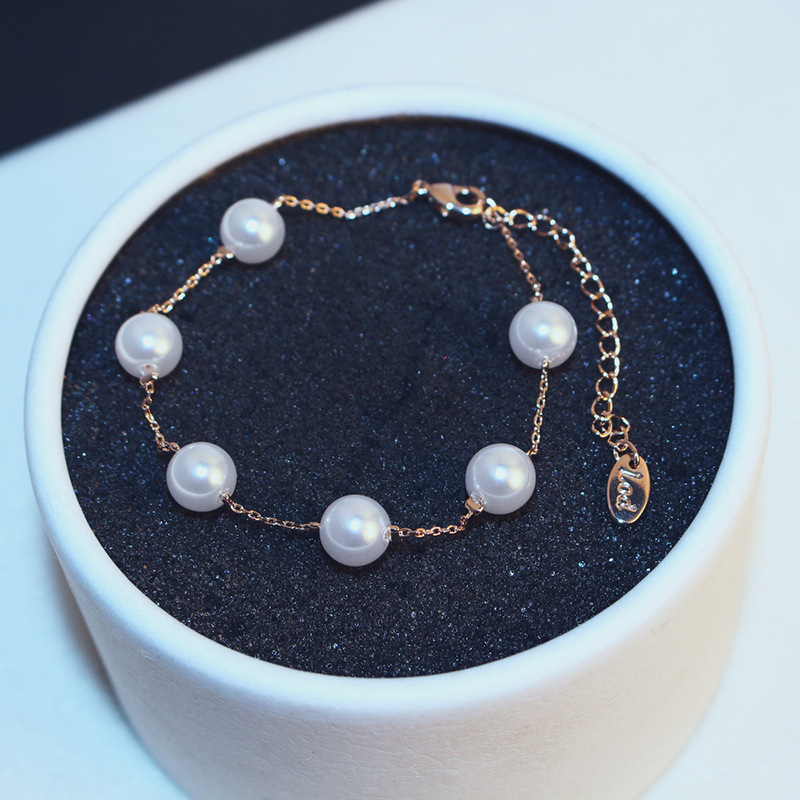 Simple simulated pearl bracelet 2016 gold plated bracelets for women bijoux cute fashion jewelry wholesale gift(China (Mainland))