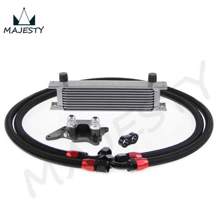 10 row ENGINE OIL COOLER KIT FOR  MINI COOPER S SUPERCHARGER R56 OIL COOLER SILVER+FITTER KITS BLACK BRAND CSK<br><br>Aliexpress
