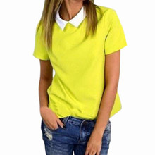Hot Sale Women Blusas 2016 Summer Blouses Peter Pan Collar Short Sleeve Chiffon Shirts Female Solid Color Casual Tops Plus Size(China (Mainland))