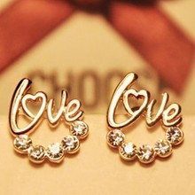 Fashion Accessories 2015 HOT New Arrival Wholesale Cute Gold Plated LOVE Letter Australia Crystal Stud Earrings For Women
