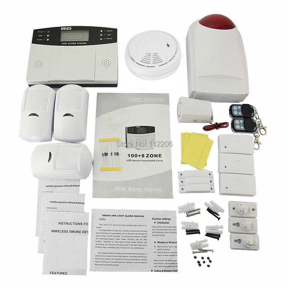 Wireless Invoice GSM Home Security Alarm Burglar System for Fire, Gas Leak, Door Lock, Living Room, Window, Balcony(China (Mainland))