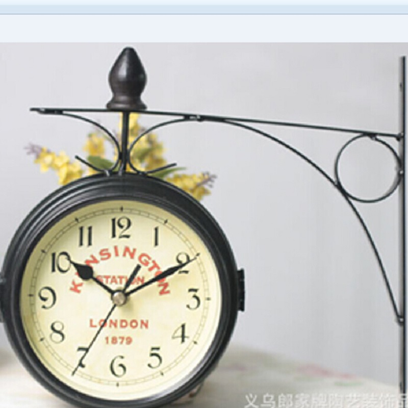 European Retro Double Sided Metal Wall Clock Hanging Clocks Round Small Home Living Room