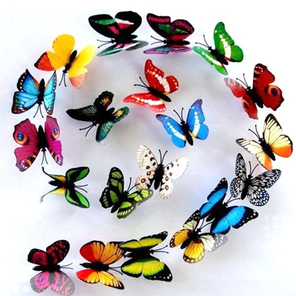 25pcs Random Color 3D Butterflies Wall Sticker PVC Magnet Home Decorative Wall Sticker Butterfly Refrigerator Wallpaper Decals(China (Mainland))