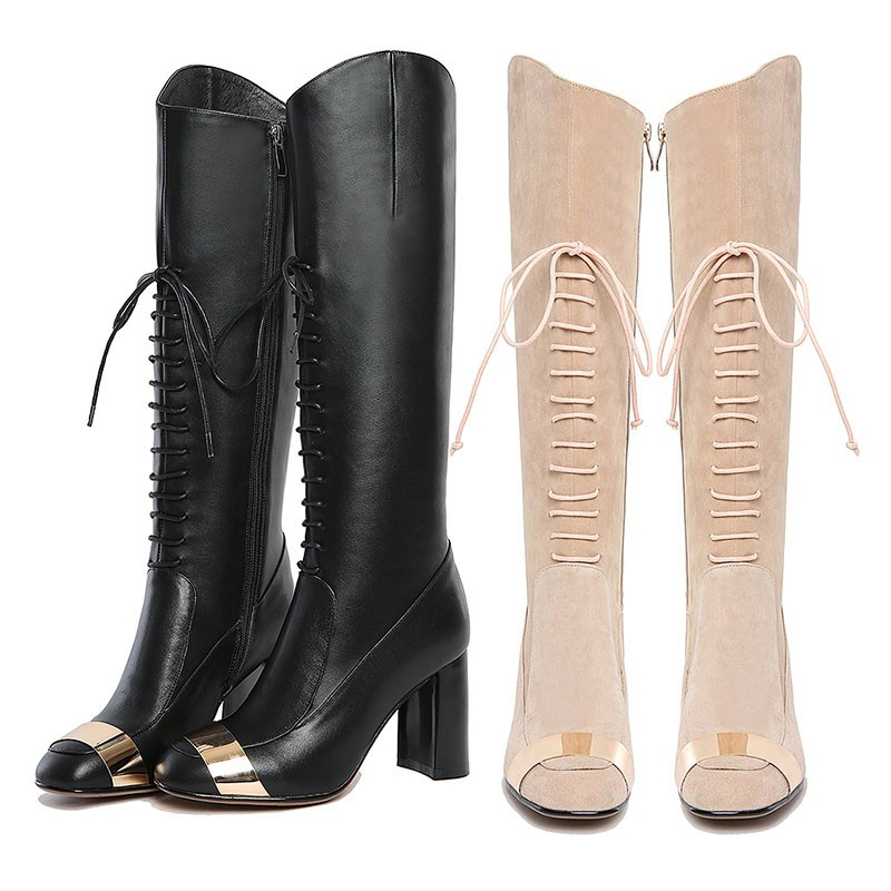 WETKISS Genuine Leather High Quality Women Winter Boots 2016 Fashion Lace Up High Heels Patchwork Knee Boots Shoes Woman