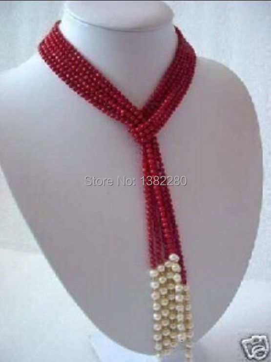 "Free shipping! 5MM Charming Red Coral & White Pearl Scarf Necklace 50"" JT5100(China (Mainland))"