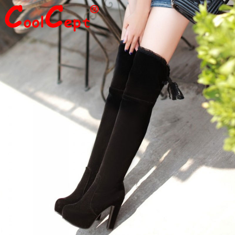 CooLcept Free shipping over knee high heel boots women snow fashion winter warm footwear shoes boot P15226 EUR size 34-39<br><br>Aliexpress