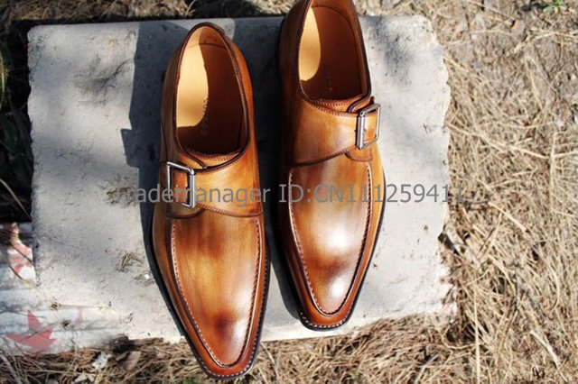 S quare toe calf leather mens dress/classic monk straps color brown shoe No.MS19 Mackay craft<br><br>Aliexpress