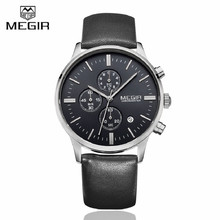 MEGIR Mens Watches Top Brand Luxury 6 hand Function Chronograph Watch Military Men's Canvas & Genuine Leather Quartz Wrist Watch