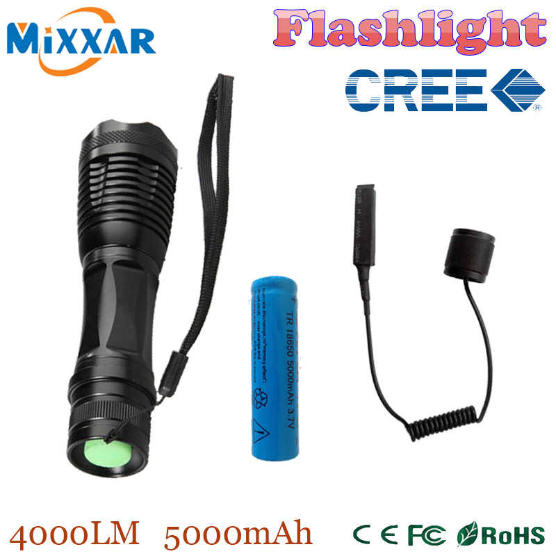 zk50 4000Lm CREE XM-L T6 led tactical flashlight torch Adjustable lanterna for Hunting + 18650 5000mAh battery + Remote Switch(China (Mainland))