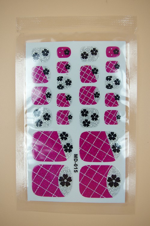 MD015 2015 New Fashion Beauty Product Toe Nail Art Foil Stickers Purple Glitter Candy Cake Manicure