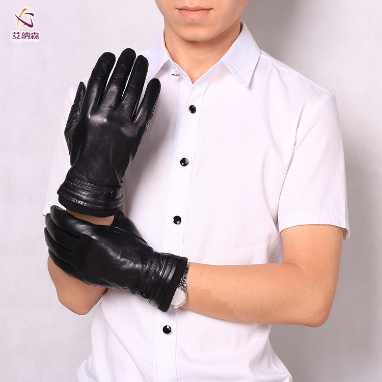 AINASEN Fashion Man gloves 100% Leather gloves Outdoors Windproof Keep Warm winter Full-finger gloves PA-B802(China (Mainland))
