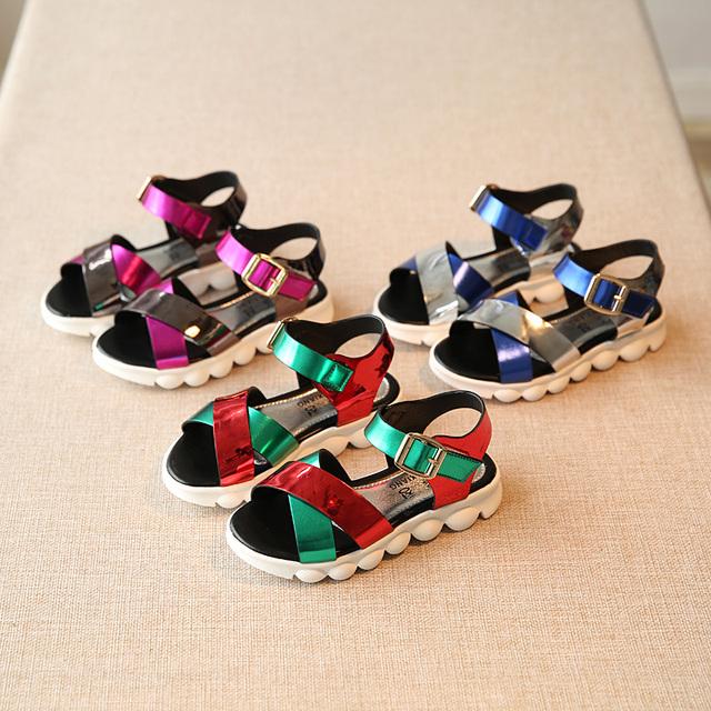 T2016 летние новых детская обувь заклинание цвет стразами девочек обувь мода принцесса обувь дети открытым носком сандалии
