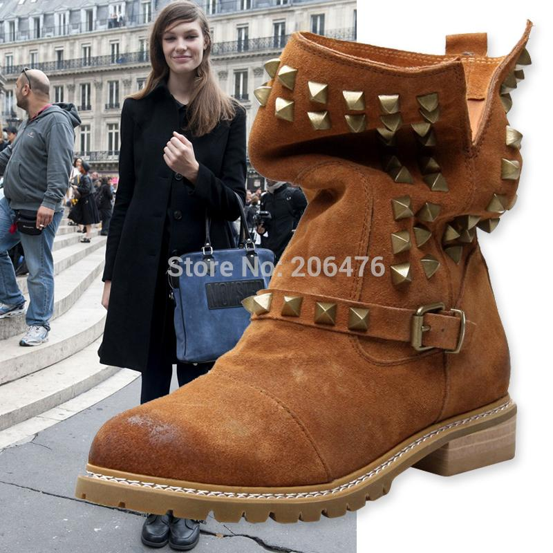 Vintage genuine leather rivet boots women's shoes nubuck fashion martin spring autumn single - Ruby Mom Store store