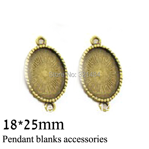 antique bronze 100pc 18x25mm cameo base w/ 2 Loops settings oval charm bracelet earring pendant tray bezel blank link connector(China (Mainland))